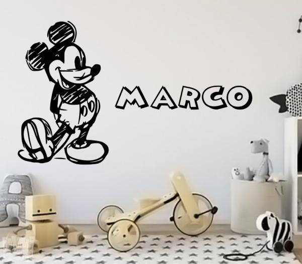 Vinilo decorativo dibujo de Mickey Mouse + nombre personalizado.