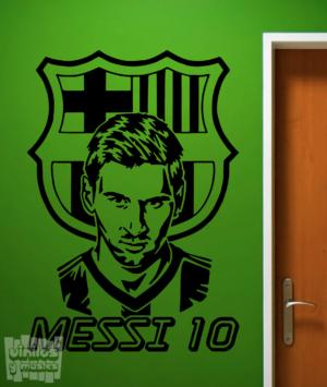 Vinilo decorativo Messi 10 + escudo Futbol Club Barcelona.