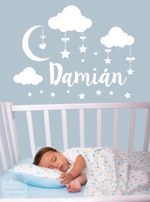 """vinilo decorativo conjunto bebe """"estrellas + nubes + nombre"""""""