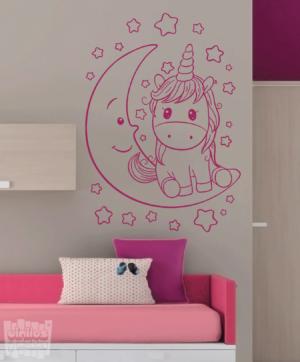 Vinilo decorativo unicornio con luna y estrellas.