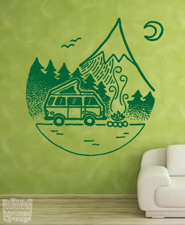 Vinilo decorativo dibujo camper montaña.