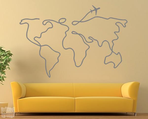 """vinilo decorativo Mapa mundi """"trazo avión"""""""