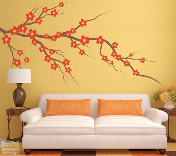 Vinilo decorativo rama con flores de colores