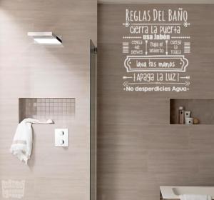 Vinilo decorativo reglas del baño 2