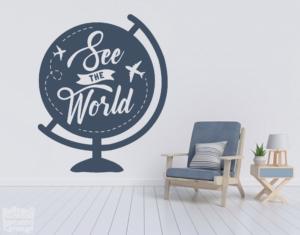 """Vinilo decorativo See the world """"Ver el mundo""""."""