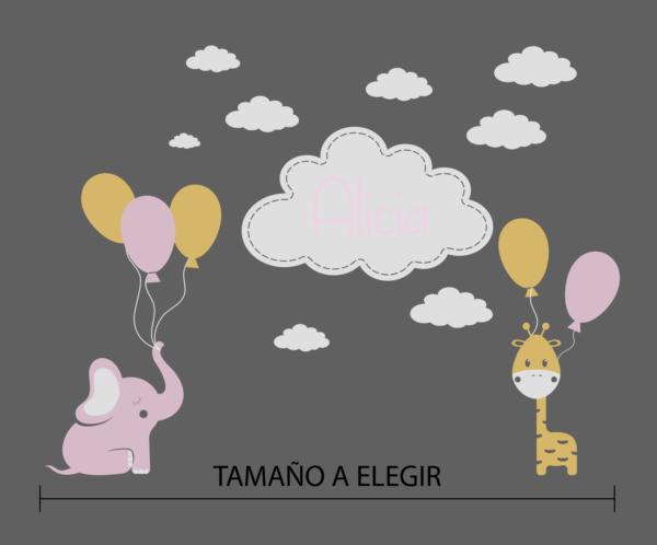 conjunto niña, elefante nubes y jirafa - vinilosymas.es