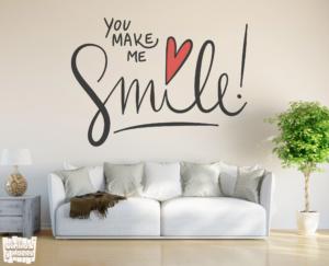 "Vinilo decorativo frase: You make me smile ""Me haces sonreir""."