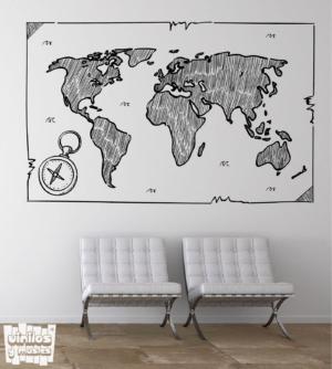 Boceto mapa mundi - vinilosymas.es