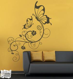 Vinilo decorativo Enredadera mariposas