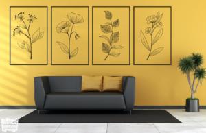 Vinilo decorativo cuadros flores.