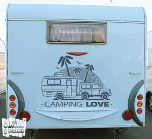 Vinilo decorativo Camping love.