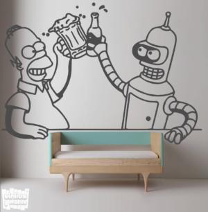 Vinilo decorativo Homer VS Bender