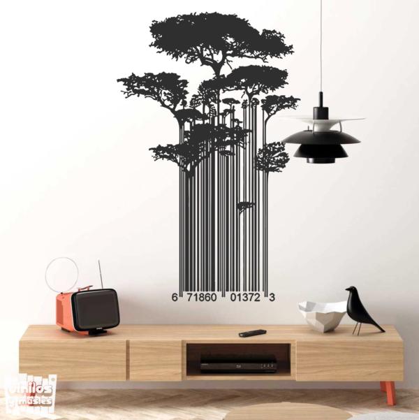 """Vinilo decorativo Código de barras / árboles """"Banksy""""."""
