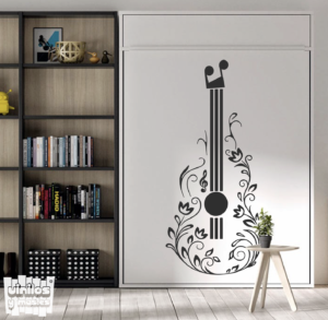 vinilo decorativo guitarra floral