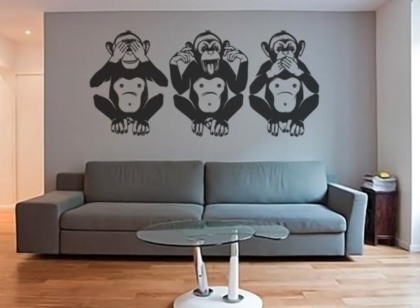 """Vinilo decorativo Monos """"ver, oir y callar""""."""