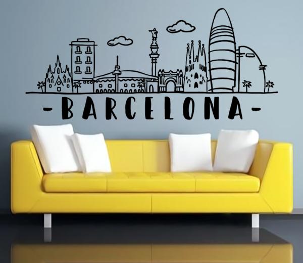 Vinilo decorativo Skyline Barcelona - vinilosymas.es